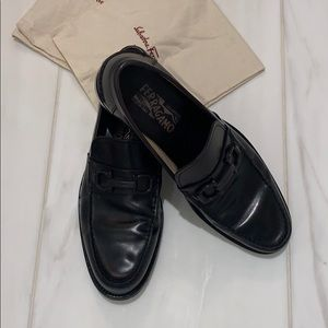 Salvatore Ferragamo leather loafers.